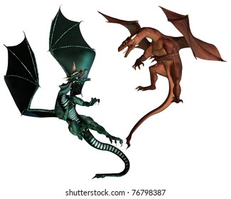 Red and Green dragon fighting an aerial battle, 3d digitally rendered illustration