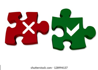 Red and green puzzle pieces with X mark and check mark isolated over white, Answers to your questions