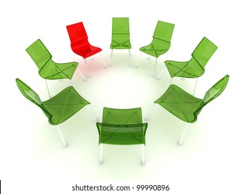 red and green transparent chairs in a circle