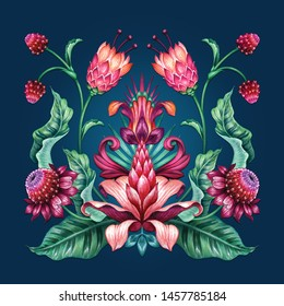 red green tropical flowers isolated on blue background, ethnic floral ornament, folklore motif, botanical kerchief design, traditional embroidery pattern, boho fashion print, watercolor illustration
