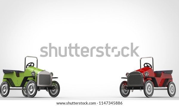 Red and green vintage toy cars - 3D Illustration