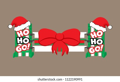"""Red, green, and white Christmas present horse show jump with santa hats and the words """"ho ho go"""" on the jump standards, and a big red bow on the planks."""