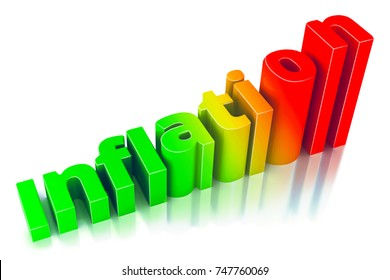 Red and green Word Inflation on up trend, with Growth inflation chart and word inflation on white backgroun. Illustrations 3d.