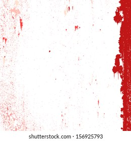 Red grunge stained background on white.