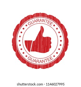Red Guarantee grunge Stamp with thumb up on white background,Thai design.