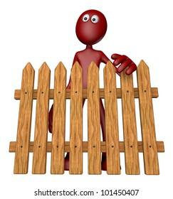 red guy behind garden fence - 3d illustration