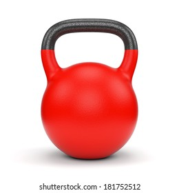 Red gym weight kettle bell isolated on white background