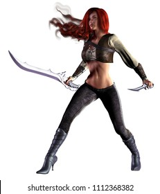 red hair fantasy warrior, armed with sword and knife, 3d illustration