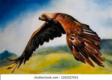 Red haired hawk in flight. Oil painting