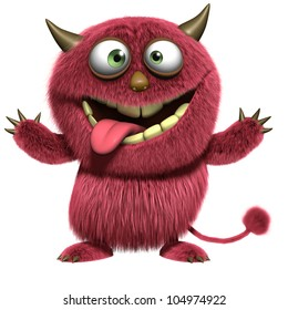 red hairy monster