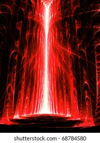 Red Hall - Fractal Illustration