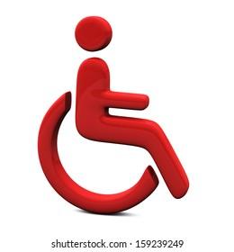 Red handicap icon, 3d