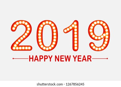 Red Happy new year 2019 symbol (text and number) with light bulb greeting illustration background