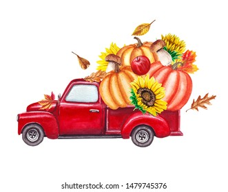 Red harvest truck with pumpkins, sunflowers, fallen autumn leaves. Thanksgiving hand drawn watercolor illustration isolated