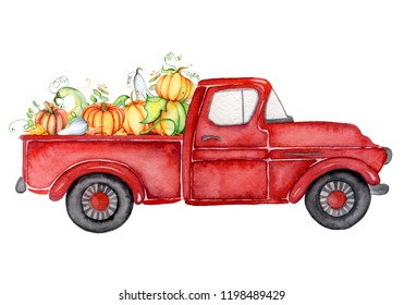 Red harvest truck with pumpkins Thanksgiving hand drawn watercolor illustration