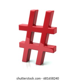 Red hashtags icon 3d illustration on white background