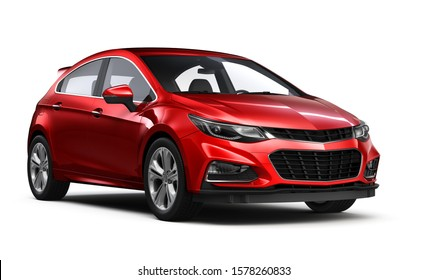 Red hatchback car on white background - 3d illustration
