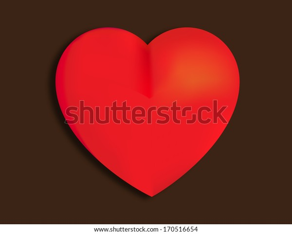 Red heart with chocolate background