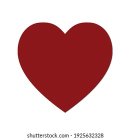 Red heart design icon flat,alentine's Day sign, on white background with shadow.