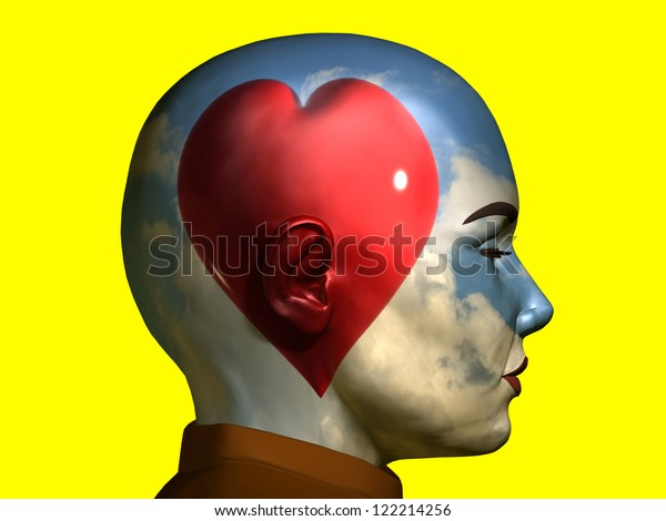 red heart in front of a sunny sky inside a portrait, thinking with emotion