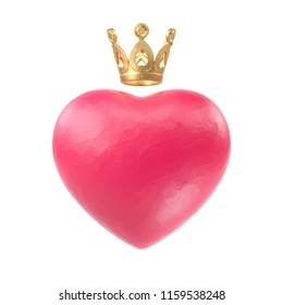 Red Heart with golden crown. Network, subscribe label or icon. 3d render