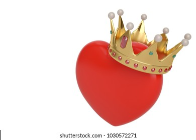 Red heart with golden crown on white background.3D illustration.