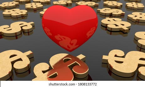 Red heart with golden dollar signs.3d illustration