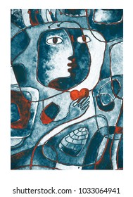 A red heart in hands, a face and lines. Cubistic painting.