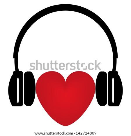 ecb13a42cab Red Heart Headphones Stock Illustration 142724809 - Shutterstock