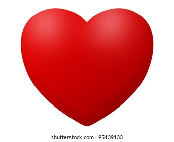 Red heart icon illustration isolated on white
