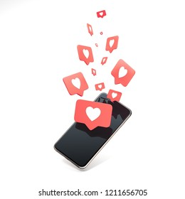 Red heart Like symbols on mobile phone screen. Isolated mobile phone is on white background, 3d rendering. Social media concept.