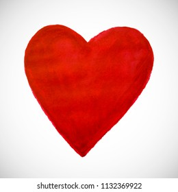 Red heart on white background. Hand-drawn painted heart for t-shirt print, flyer, poster design. Raster version.