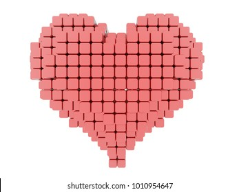 red heart with pixel voxel effect isolated on white. 3d render