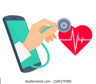 Red heart with pulse line, doctor's hand is holding a stethoscope and checking heartbeat. Tele, online, remote medicine flat concept illustration. Telemedicine isolated on white background