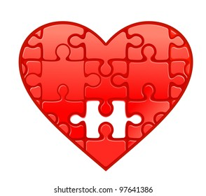 Red heart with puzzles as a concept of romantic love. Vector version also available in gallery