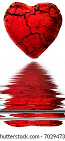 red heart with reflection