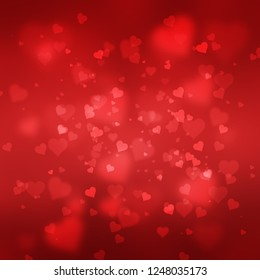 red heart shape abstract bokeh background wtih glowing texture for Valentine's Day