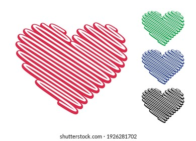 Red heart shape made from diagonal lines isolated on the white background. Contour of a heart is perfect for wedding invitations, logo and icons