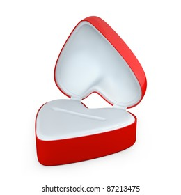 Red heart shaped box for jewelry isolated on white background