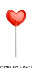 Red heart shaped lollipop, isolated on white background. 3D illustration