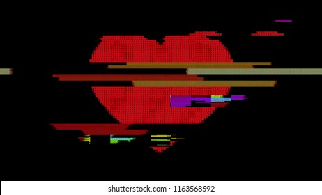 A red heart symbol. Created with ASCII characters and a heavy distortion glitch effect.