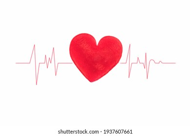 Red heart with wave graph on white background with copy space on medical concept