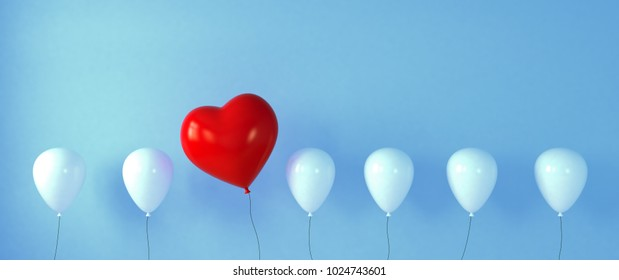 Red heart for wedding as a balloon in a balloons (3d rendering)