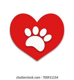 Red heart with white paw print animal