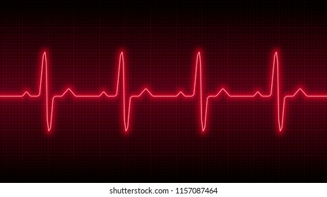 Red heartbeat line, illustration