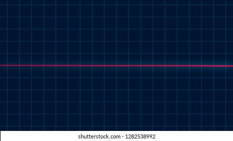 Red heartbeat pulse flatlines on cardiogram screen, cardio healthcare concept