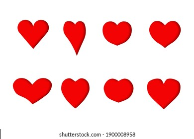 red hearts 3D shapes have light shadows style convex on paper white background, hand draw shape symbol love, isolated for love wedding, woman, man, valentine day or mother day, copy text card