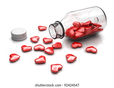 Red hearts from bottle glass