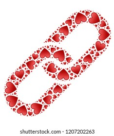 Red hearts Chain illustration on white background image