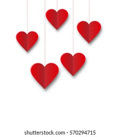 Red hearts hanging on strings on white background. Valentine s Day card - raster
